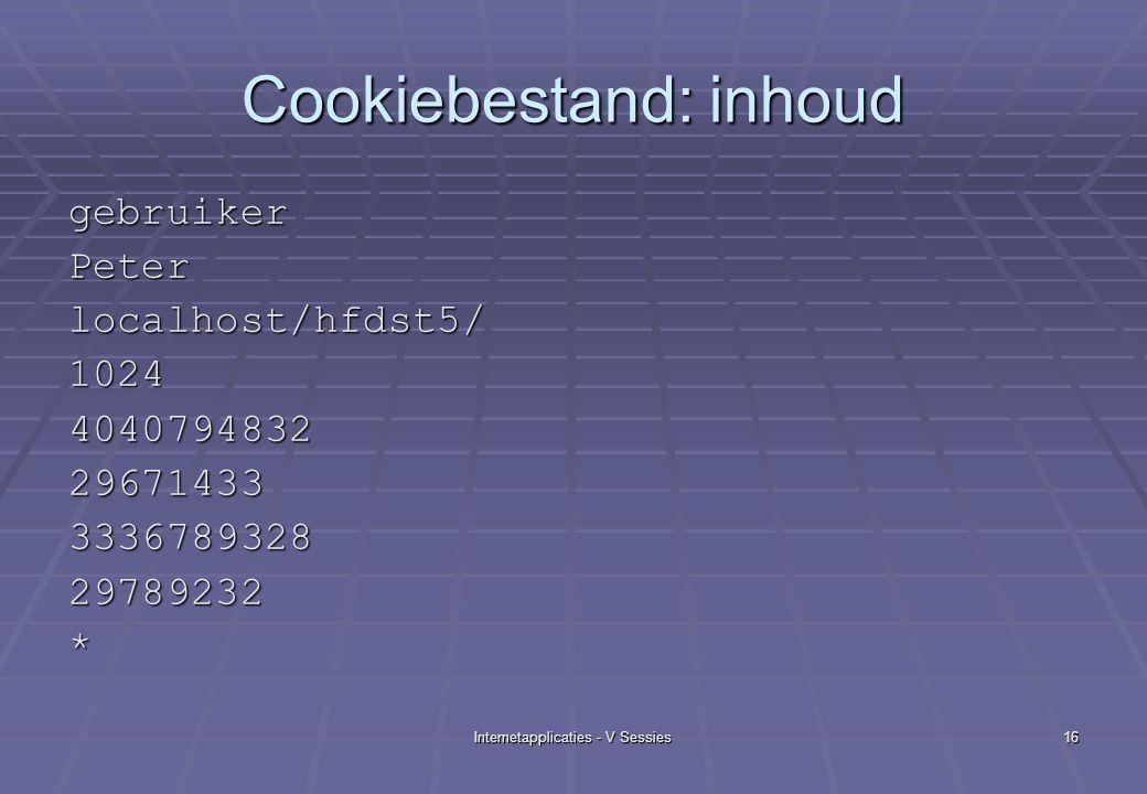 Internetapplicaties - V Sessies16 Cookiebestand: inhoud gebruikerPeterlocalhost/hfdst5/1024404079483229671433333678932829789232*