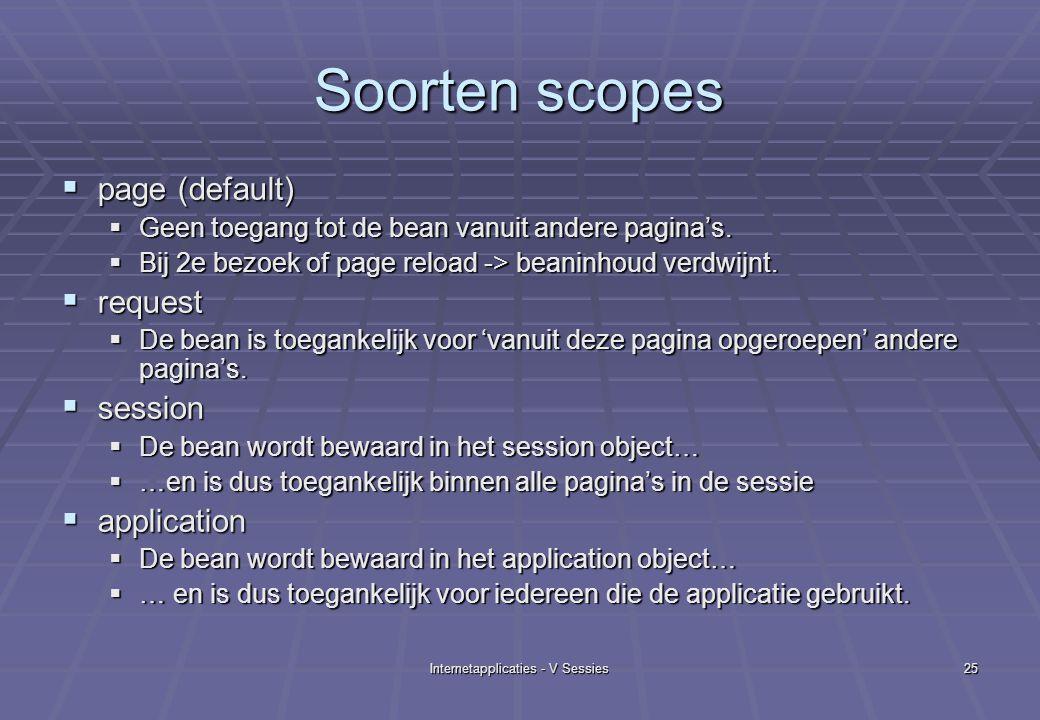 Internetapplicaties - V Sessies25 Soorten scopes  page (default)  Geen toegang tot de bean vanuit andere pagina's.  Bij 2e bezoek of page reload ->