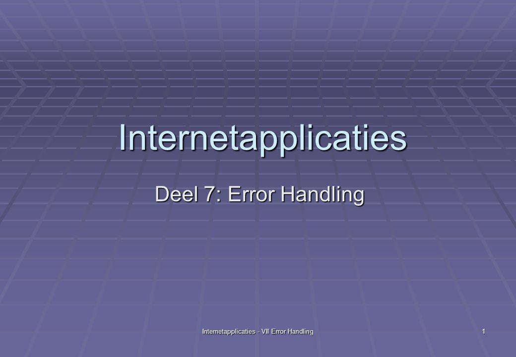 Internetapplicaties - VII Error Handling22 Fragment van geenexcep_jsp.java out.write( Geen Exceptions: tellertest ); out.write( Geen Exceptions: tellertest ); out.write( \r\n ); out.write( \r\n ); int teller = 10 ; int teller = 10 ; int noemer = 0 ; int noemer = 0 ; teller = teller/noemer ; // dit is lijn 50 teller = teller/noemer ; // dit is lijn 50 out.write( \r\n\r\n ); out.write( \r\n\r\n ); out.write( \r\n De waarde van teller is ); out.write( \r\n De waarde van teller is ); out.print( teller ); out.print( teller ); out.write( \r\n ); out.write( \r\n );