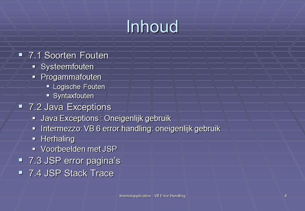 Internetapplicaties - VII Error Handling15 geenexcep.jsp: Resultaat