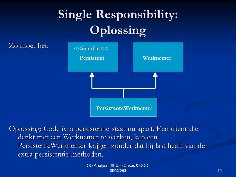 14 OO Analyse, III Use Cases & OOD- principes Single Responsibility: Oplossing Zo moet het: Oplossing: Code ivm persistentie staat nu apart. Een clien