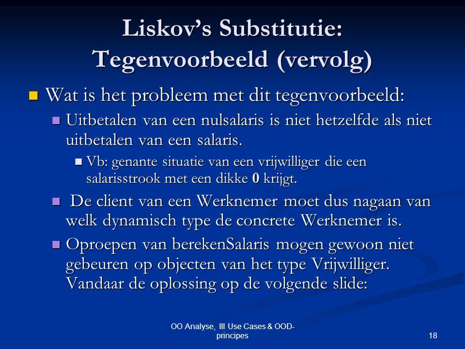 18 OO Analyse, III Use Cases & OOD- principes Liskov's Substitutie: Tegenvoorbeeld (vervolg) Wat is het probleem met dit tegenvoorbeeld: Wat is het pr