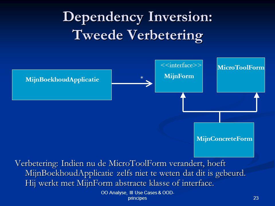 23 OO Analyse, III Use Cases & OOD- principes Dependency Inversion: Tweede Verbetering MicroToolForm MijnBoekhoudApplicatie MijnConcreteForm * MijnFor