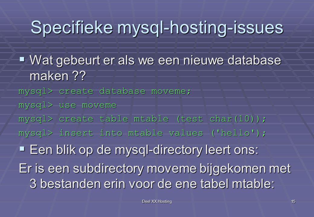 Deel XX Hosting15 Specifieke mysql-hosting-issues  Wat gebeurt er als we een nieuwe database maken ?.