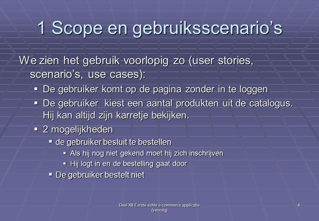 Deel XII Eerste echte e-commerce applicatie (vervolg) 4 1 Scope en gebruiksscenario's We zien het gebruik voorlopig zo (user stories, scenario's, use