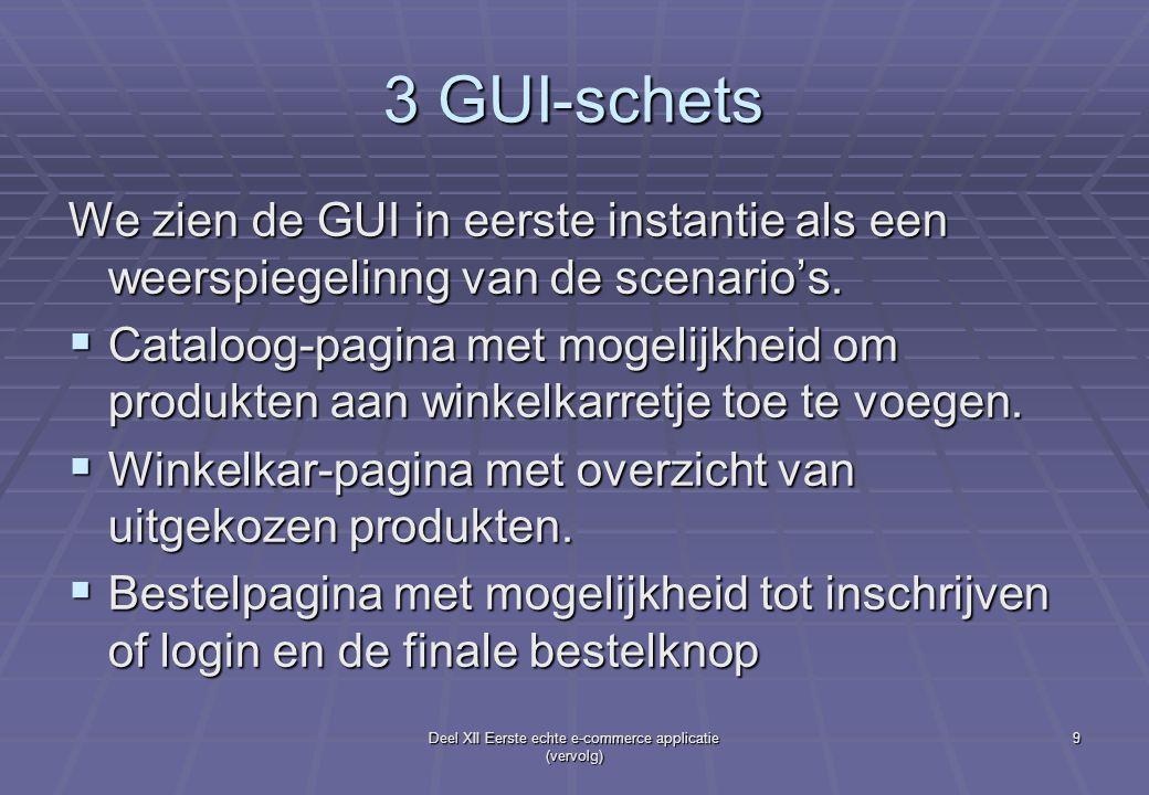 Deel XII Eerste echte e-commerce applicatie (vervolg) 9 3 GUI-schets We zien de GUI in eerste instantie als een weerspiegelinng van de scenario's.