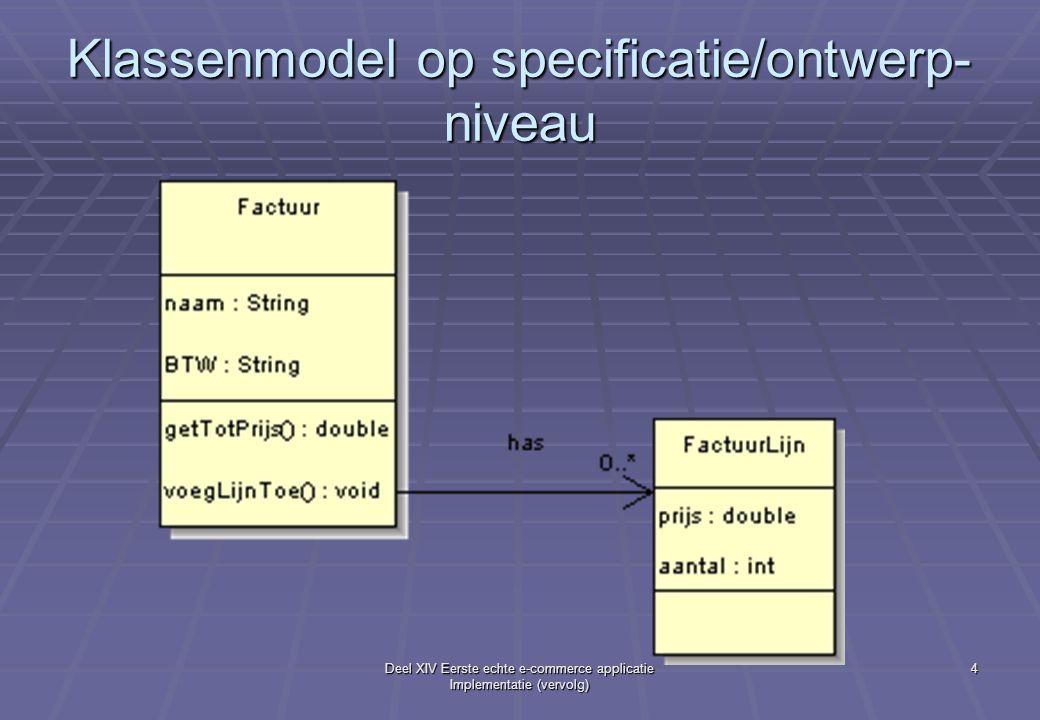 Deel XIV Eerste echte e-commerce applicatie Implementatie (vervolg) 4 Klassenmodel op specificatie/ontwerp- niveau