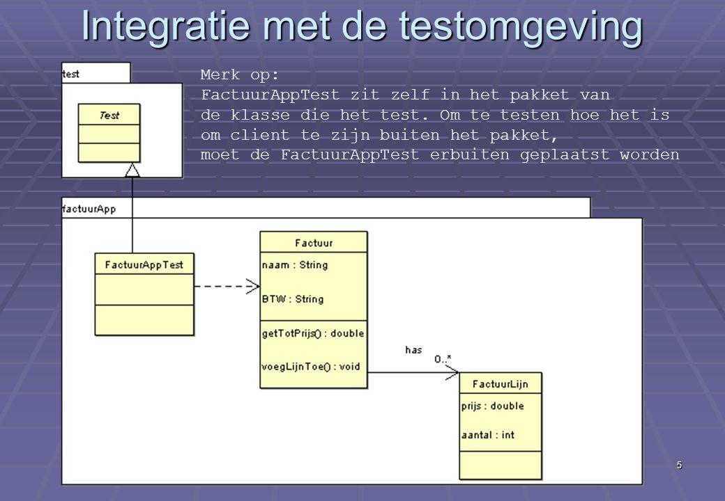 Deel XIV Eerste echte e-commerce applicatie Implementatie (vervolg) 5 Integratie met de testomgeving Merk op: FactuurAppTest zit zelf in het pakket van de klasse die het test.