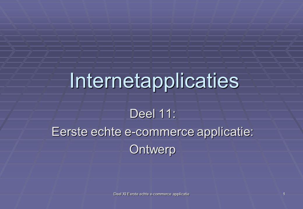 Deel XI Eerste echte e-commerce applicatie 1 Internetapplicaties Deel 11: Eerste echte e-commerce applicatie: Ontwerp