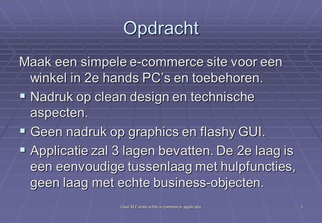 Deel XI Eerste echte e-commerce applicatie3 Opdracht Maak een simpele e-commerce site voor een winkel in 2e hands PC's en toebehoren.  Nadruk op clea