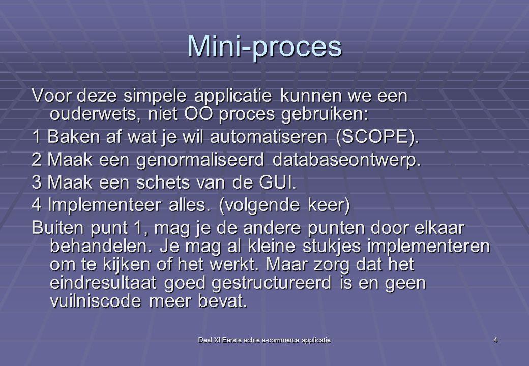 Deel XI Eerste echte e-commerce applicatie4 Mini-proces Voor deze simpele applicatie kunnen we een ouderwets, niet OO proces gebruiken: 1 Baken af wat je wil automatiseren (SCOPE).