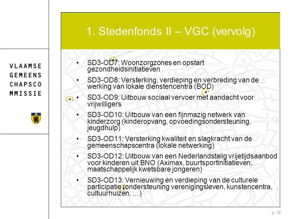 p. 10 1. Stedenfonds II – VGC (vervolg) SD3-OD7: Woonzorgzones en opstart gezondheidsinitiatieven SD3-OD8: Versterking, verdieping en verbreding van d