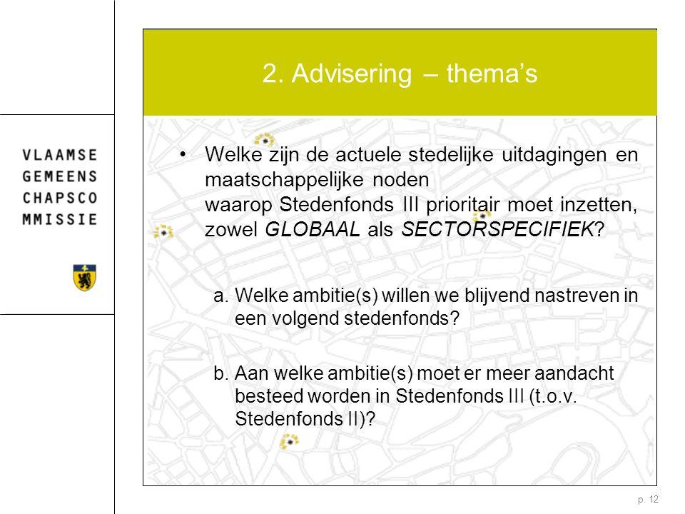 p. 12 2. Advisering – thema's Welke zijn de actuele stedelijke uitdagingen en maatschappelijke noden waarop Stedenfonds III prioritair moet inzetten,