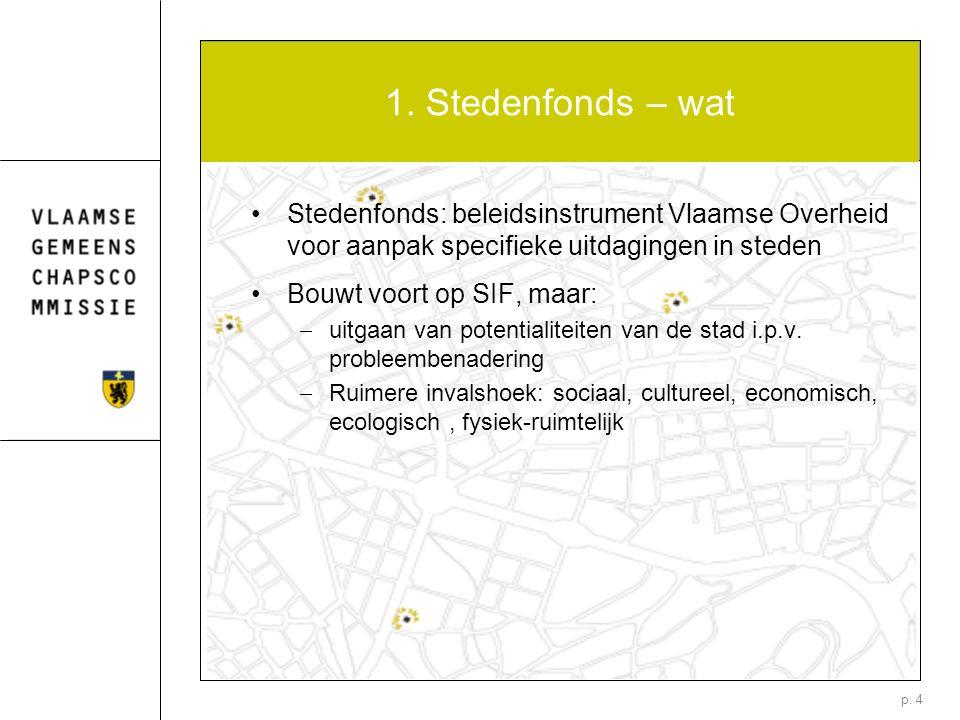 p. 4 1. Stedenfonds – wat Stedenfonds: beleidsinstrument Vlaamse Overheid voor aanpak specifieke uitdagingen in steden Bouwt voort op SIF, maar:  uit