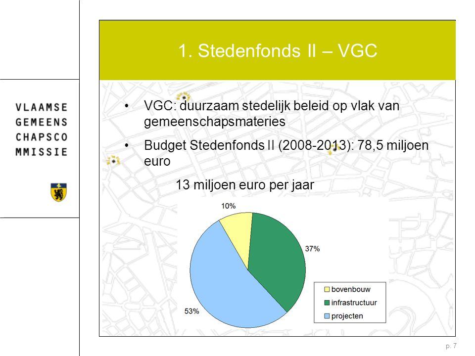 p. 7 1. Stedenfonds II – VGC VGC: duurzaam stedelijk beleid op vlak van gemeenschapsmateries Budget Stedenfonds II (2008-2013): 78,5 miljoen euro 13 m