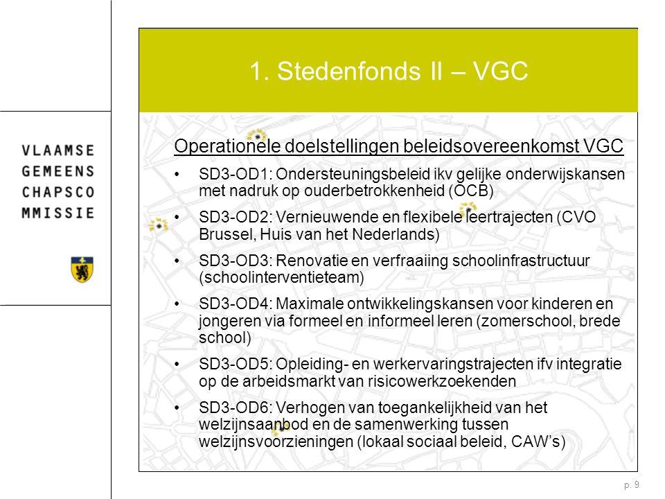 p. 9 1. Stedenfonds II – VGC Operationele doelstellingen beleidsovereenkomst VGC SD3-OD1: Ondersteuningsbeleid ikv gelijke onderwijskansen met nadruk
