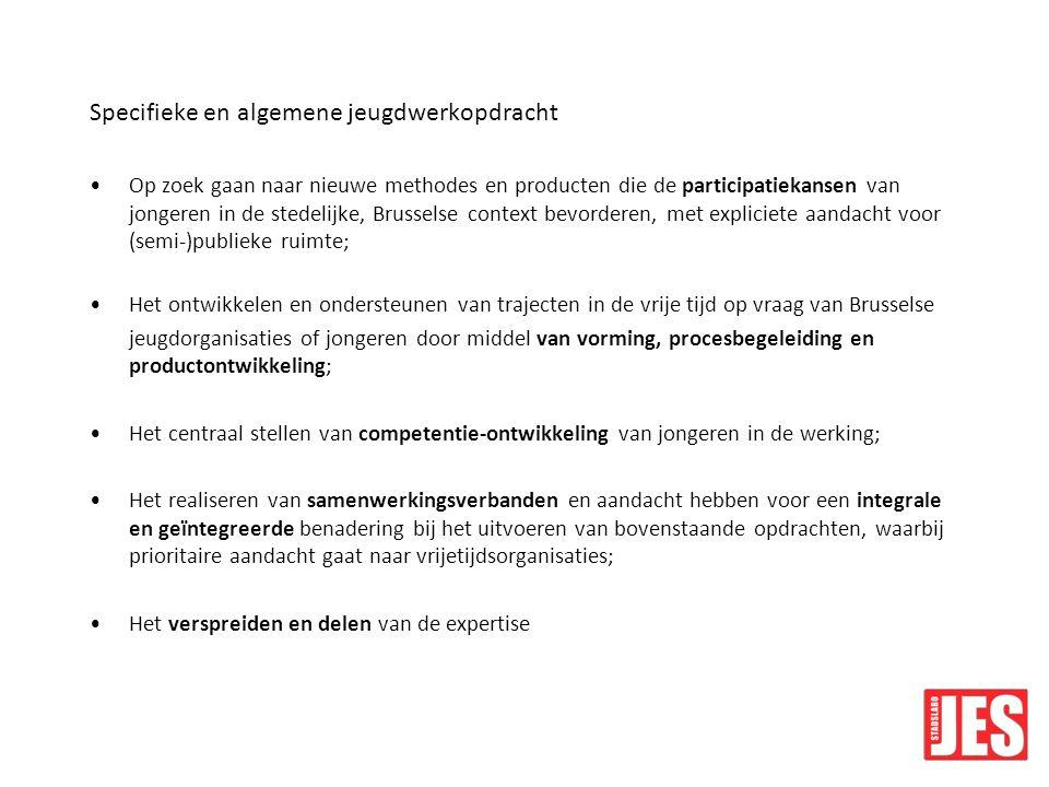 Hoe we deze opdracht willen realiseren Aanbod van stadsavontuurlijke activiteiten Opzetten en ondersteunen van participatietrajecten Vraaggestuurde en trajectmatige ondersteuning aan Nederlandstalige Brusselse jeugdorganisaties en jeugdateliers en kinderclubs Opzetten en ondersteunen van muziektrajecten via de Rockfabriek De organisatie van Kunstbende Brussel Het opzetten van trajecten en workshops rond multimedia Integreren van competentiegericht werken Regelmatig en consequent delen van expertise via studiedagen, toonmomenten of vorming