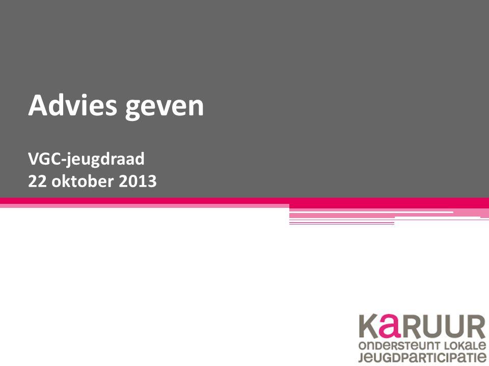 Advies geven VGC-jeugdraad 22 oktober 2013