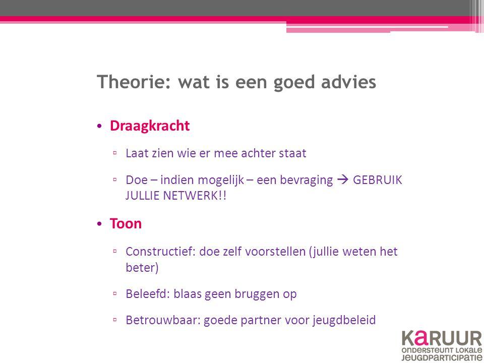 Theorie: wat is een goed advies Draagkracht ▫ Laat zien wie er mee achter staat ▫ Doe – indien mogelijk – een bevraging  GEBRUIK JULLIE NETWERK!! Too