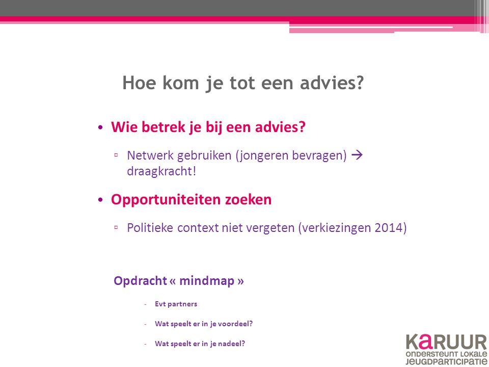 Hoe kom je tot een advies? Wie betrek je bij een advies? ▫ Netwerk gebruiken (jongeren bevragen)  draagkracht! Opportuniteiten zoeken ▫ Politieke con