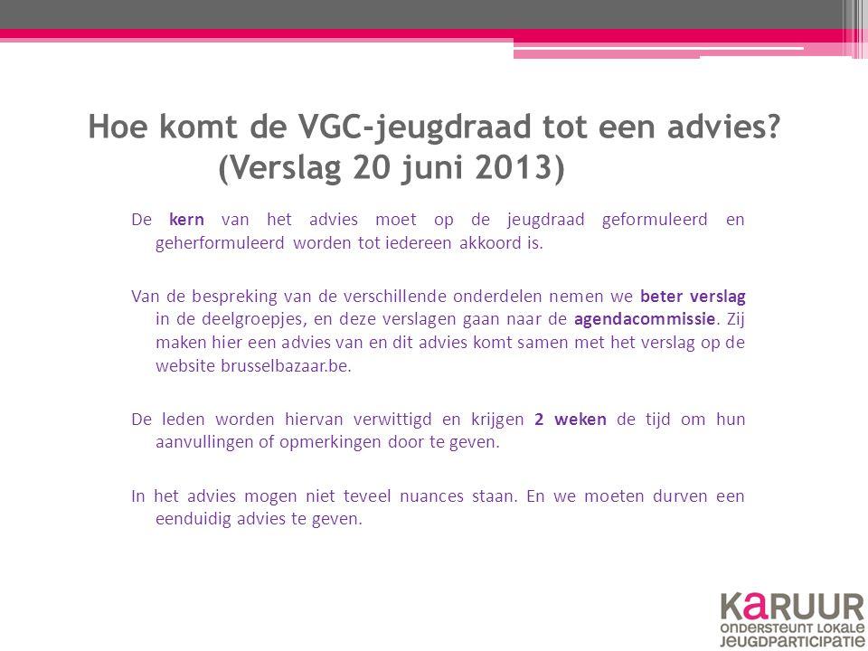 Hoe komt de VGC-jeugdraad tot een advies? (Verslag 20 juni 2013) De kern van het advies moet op de jeugdraad geformuleerd en geherformuleerd worden to