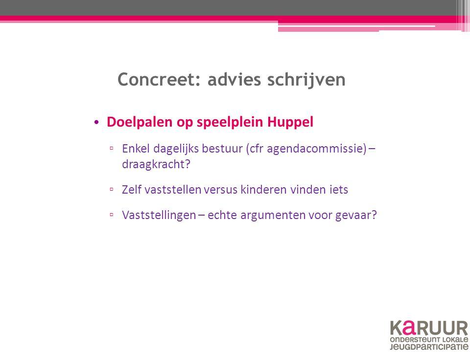 Concreet: advies schrijven Doelpalen op speelplein Huppel ▫ Enkel dagelijks bestuur (cfr agendacommissie) – draagkracht? ▫ Zelf vaststellen versus kin