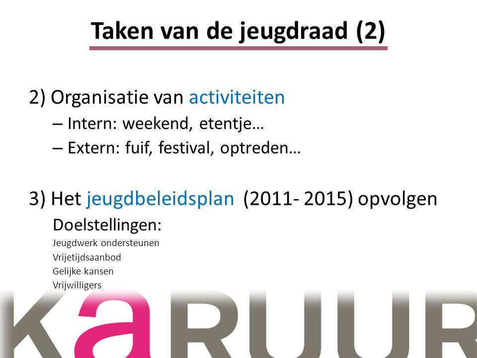 Taken van de jeugdraad (2) 2) Organisatie van activiteiten – Intern: weekend, etentje… – Extern: fuif, festival, optreden… 3) Het jeugdbeleidsplan (2011- 2015) opvolgen Doelstellingen: Jeugdwerk ondersteunen Vrijetijdsaanbod Gelijke kansen Vrijwilligers