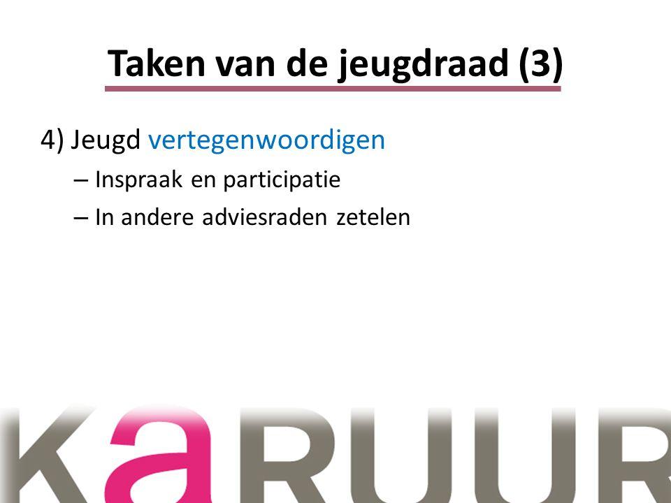 Taken van de jeugdraad (3) 4) Jeugd vertegenwoordigen – Inspraak en participatie – In andere adviesraden zetelen