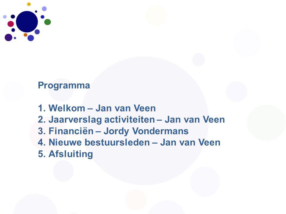 Programma 1.Welkom – Jan van Veen 2.Jaarverslag activiteiten – Jan van Veen 3.Financiën – Jordy Vondermans 4.Nieuwe bestuursleden – Jan van Veen 5.Afs
