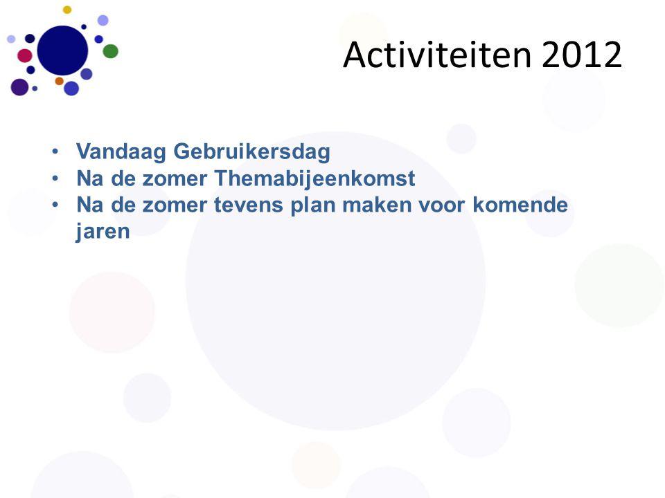 Activiteiten 2012 Vandaag Gebruikersdag Na de zomer Themabijeenkomst Na de zomer tevens plan maken voor komende jaren