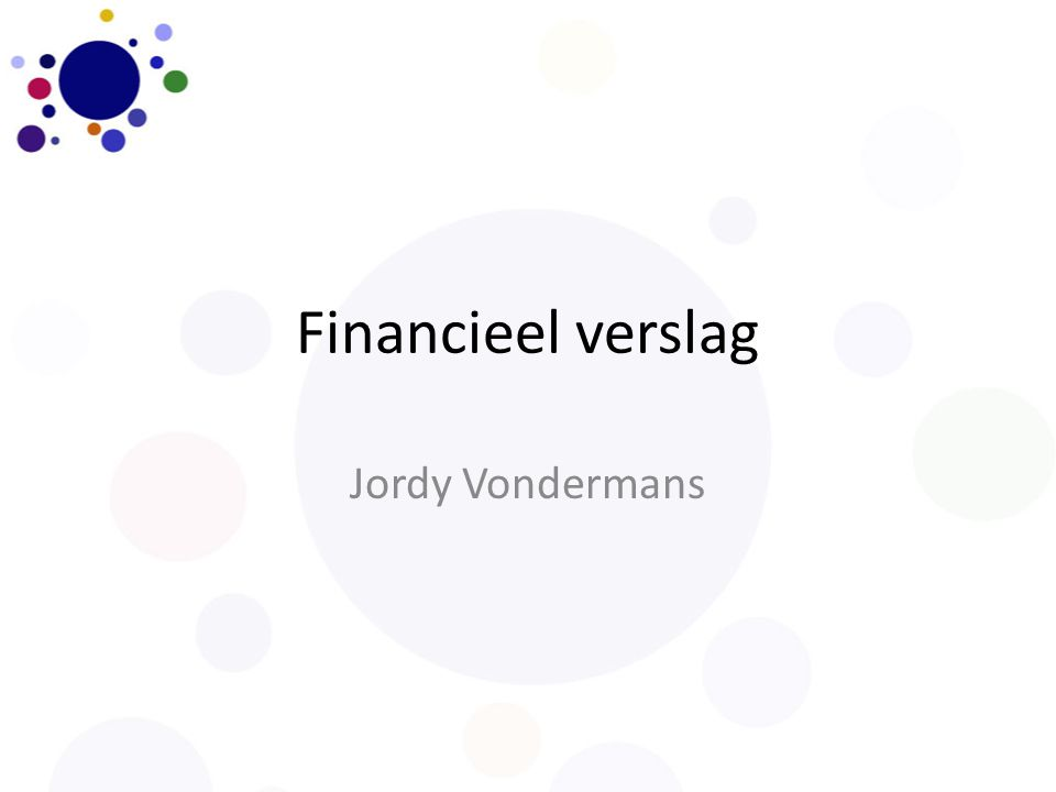 Financieel verslag Jordy Vondermans