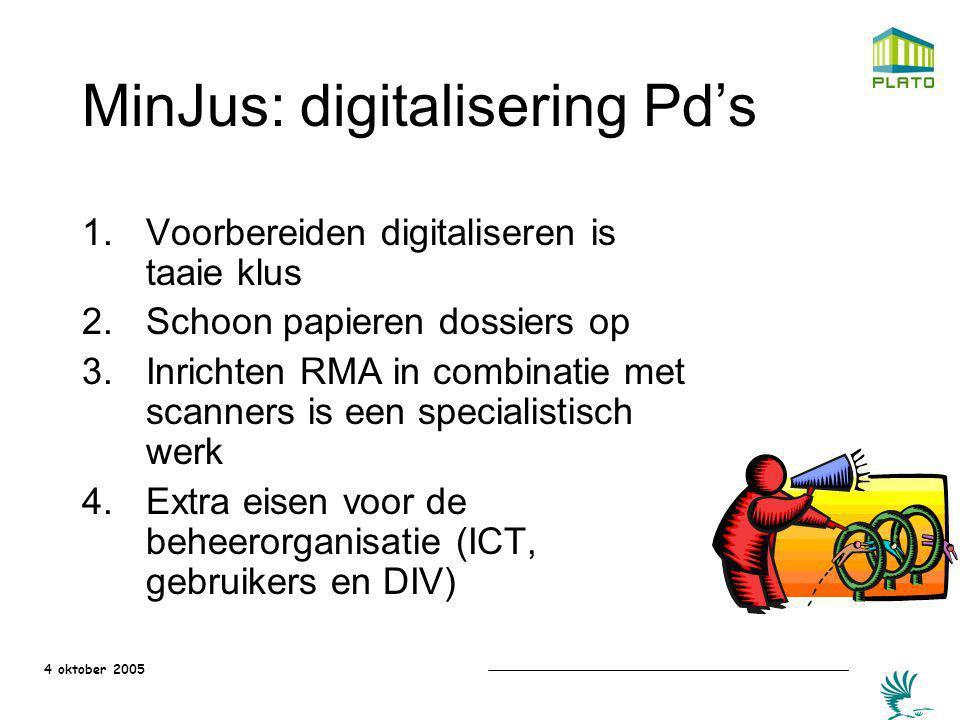 4 oktober 2005 MinJus: digitalisering Pd's 1.Voorbereiden digitaliseren is taaie klus 2.Schoon papieren dossiers op 3.Inrichten RMA in combinatie met