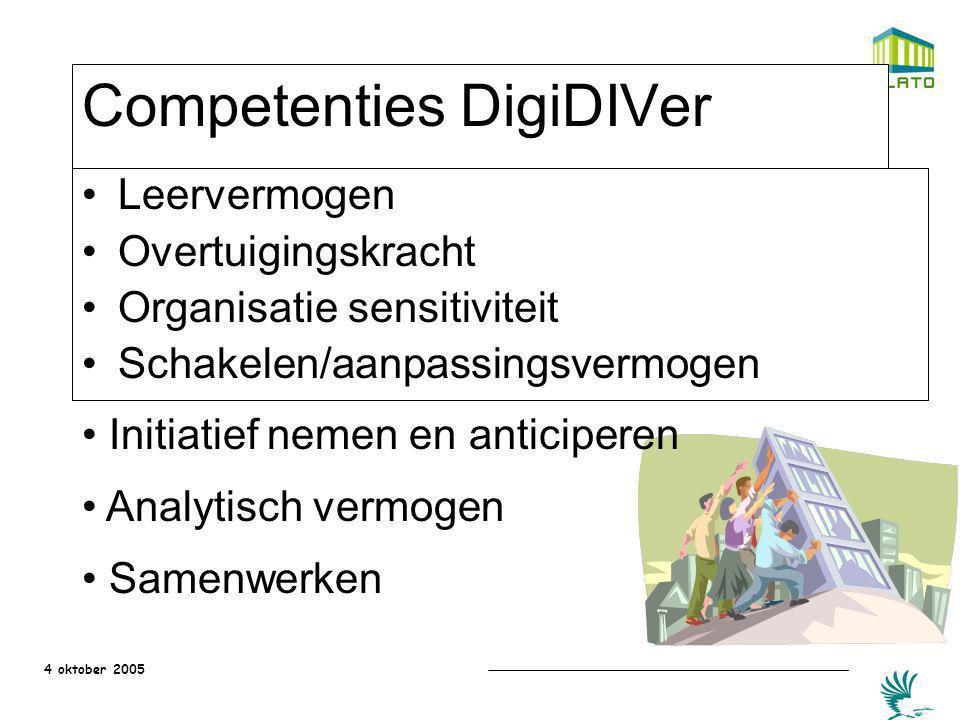 4 oktober 2005 Competenties DigiDIVer Leervermogen Overtuigingskracht Organisatie sensitiviteit Schakelen/aanpassingsvermogen Initiatief nemen en anti