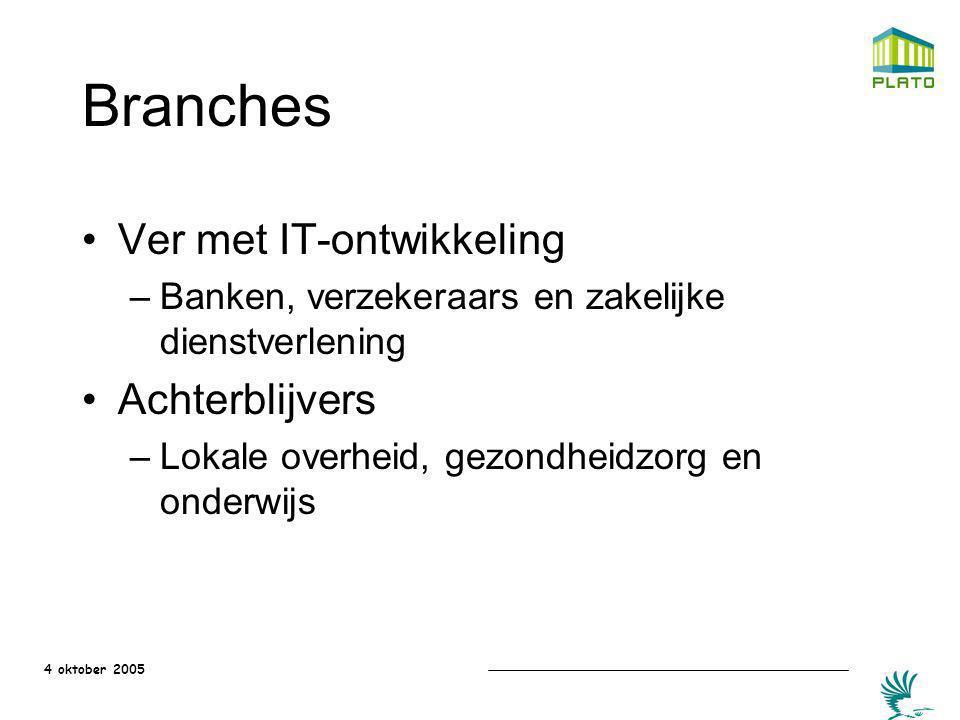 4 oktober 2005 Branches Ver met IT-ontwikkeling –Banken, verzekeraars en zakelijke dienstverlening Achterblijvers –Lokale overheid, gezondheidzorg en
