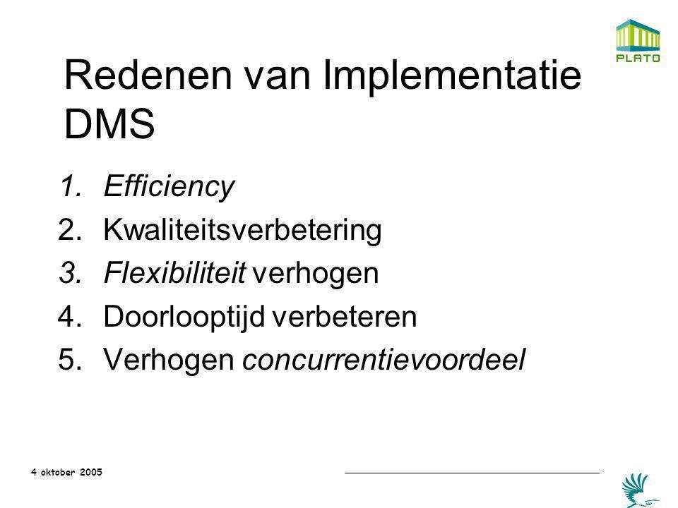 4 oktober 2005 Redenen van Implementatie DMS 1.Efficiency 2.Kwaliteitsverbetering 3.Flexibiliteit verhogen 4.Doorlooptijd verbeteren 5.Verhogen concur