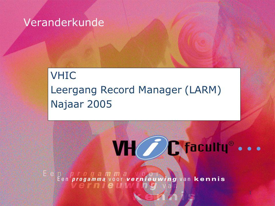 1 Veranderkunde VHIC Leergang Record Manager (LARM) Najaar 2005