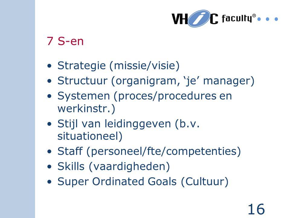 16 7 S-en Strategie (missie/visie) Structuur (organigram, 'je' manager) Systemen (proces/procedures en werkinstr.) Stijl van leidinggeven (b.v. situat