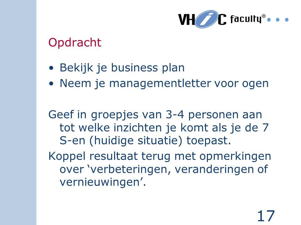 17 Opdracht Bekijk je business plan Neem je managementletter voor ogen Geef in groepjes van 3-4 personen aan tot welke inzichten je komt als je de 7 S