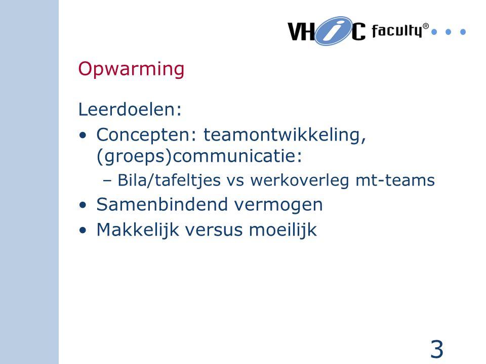 3 Opwarming Leerdoelen: Concepten: teamontwikkeling, (groeps)communicatie: –Bila/tafeltjes vs werkoverleg mt-teams Samenbindend vermogen Makkelijk ver