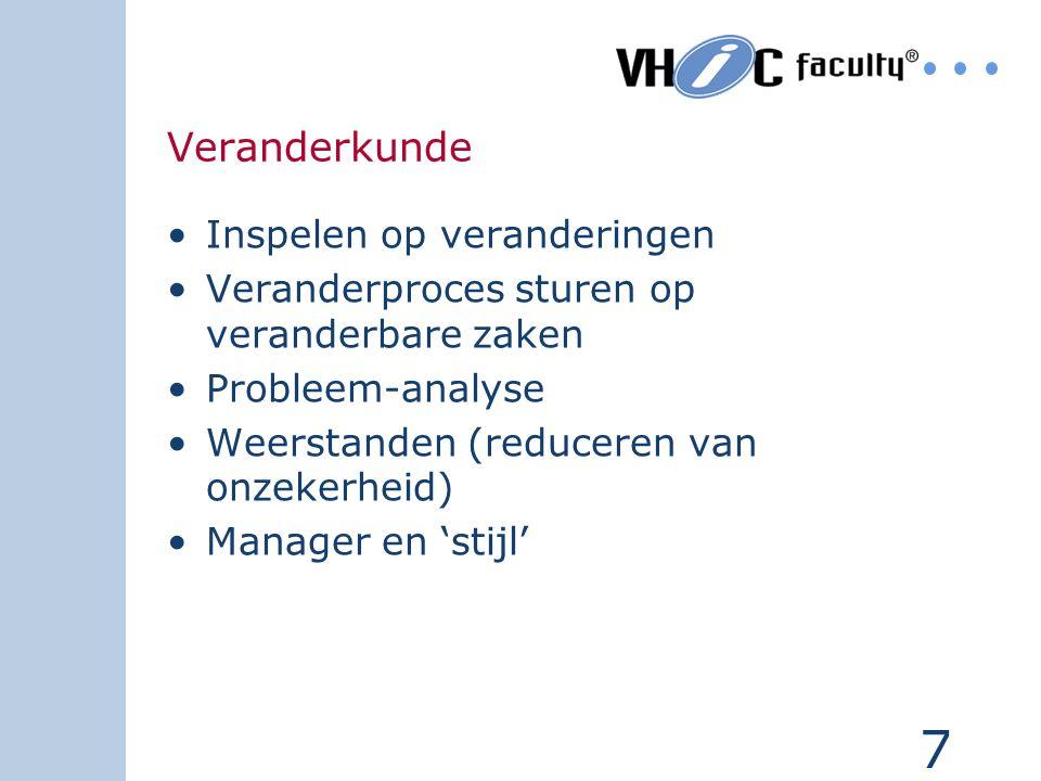7 Veranderkunde Inspelen op veranderingen Veranderproces sturen op veranderbare zaken Probleem-analyse Weerstanden (reduceren van onzekerheid) Manager