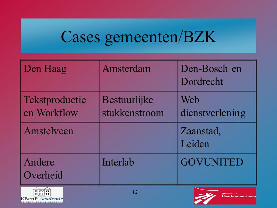 12 Cases gemeenten/BZK Den HaagAmsterdamDen-Bosch en Dordrecht Tekstproductie en Workflow Bestuurlijke stukkenstroom Web dienstverlening AmstelveenZaa