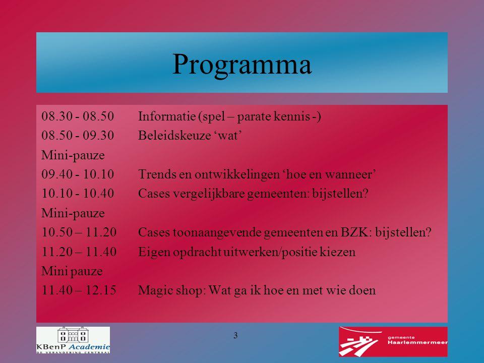 3 Programma 08.30 - 08.50Informatie (spel – parate kennis -) 08.50 - 09.30Beleidskeuze 'wat' Mini-pauze 09.40 - 10.10Trends en ontwikkelingen 'hoe en
