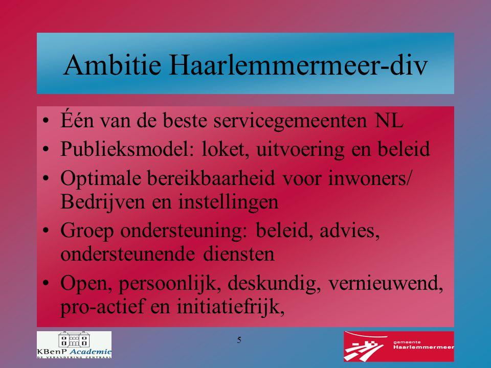 5 Ambitie Haarlemmermeer-div Één van de beste servicegemeenten NL Publieksmodel: loket, uitvoering en beleid Optimale bereikbaarheid voor inwoners/ Be