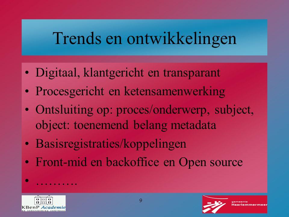 9 Trends en ontwikkelingen Digitaal, klantgericht en transparant Procesgericht en ketensamenwerking Ontsluiting op: proces/onderwerp, subject, object: