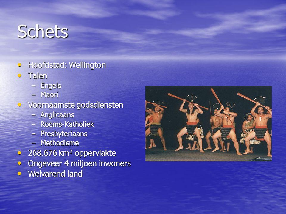 Schets Hoofdstad: Wellington Hoofdstad: Wellington Talen Talen –Engels –Maori Voornaamste godsdiensten Voornaamste godsdiensten –Anglicaans –Rooms-Katholiek –Presbyteriaans –Methodisme 268.676 km 2 oppervlakte 268.676 km 2 oppervlakte Ongeveer 4 miljoen inwoners Ongeveer 4 miljoen inwoners Welvarend land Welvarend land