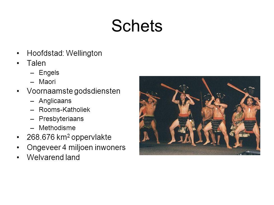 Schets Hoofdstad: Wellington Talen –Engels –Maori Voornaamste godsdiensten –Anglicaans –Rooms-Katholiek –Presbyteriaans –Methodisme 268.676 km 2 opper