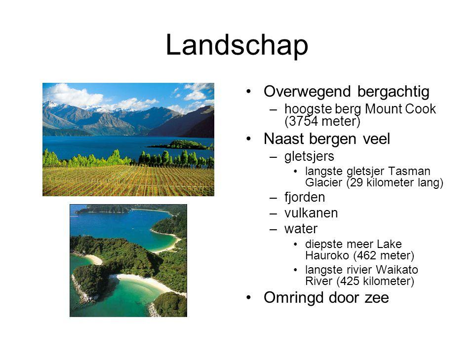 Landschap Overwegend bergachtig –hoogste berg Mount Cook (3754 meter) Naast bergen veel –gletsjers langste gletsjer Tasman Glacier (29 kilometer lang)