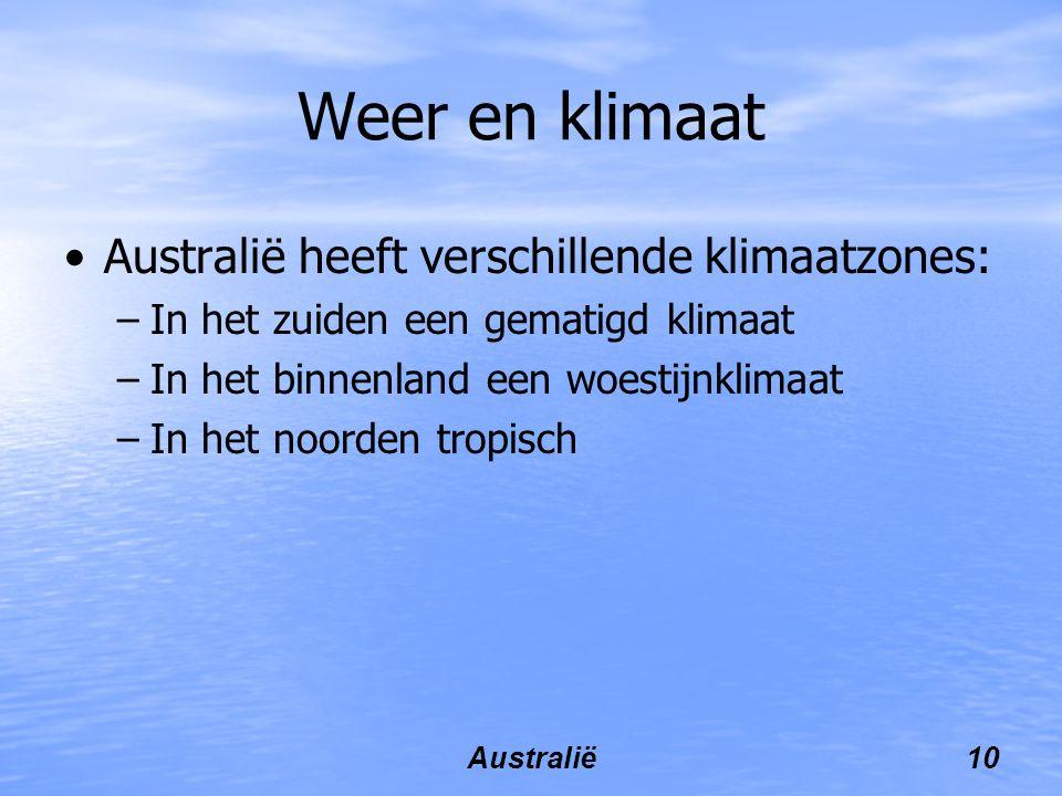 Australië10 Weer en klimaat Australië heeft verschillende klimaatzones: –In het zuiden een gematigd klimaat –In het binnenland een woestijnklimaat –In het noorden tropisch