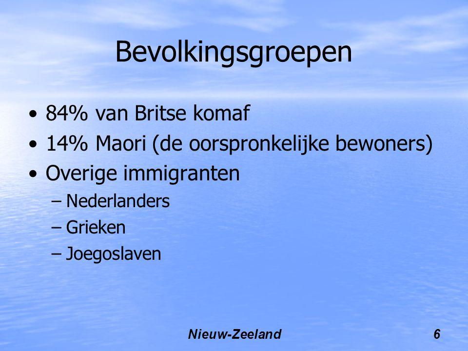 Nieuw-Zeeland6 Bevolkingsgroepen 84% van Britse komaf 14% Maori (de oorspronkelijke bewoners) Overige immigranten –Nederlanders –Grieken –Joegoslaven