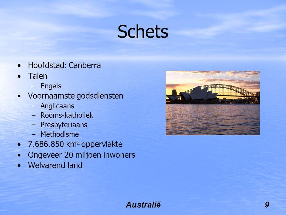 Australië9 Schets Hoofdstad: Canberra Talen –Engels Voornaamste godsdiensten –Anglicaans –Rooms-katholiek –Presbyteriaans –Methodisme 7.686.850 km 2 oppervlakte Ongeveer 20 miljoen inwoners Welvarend land